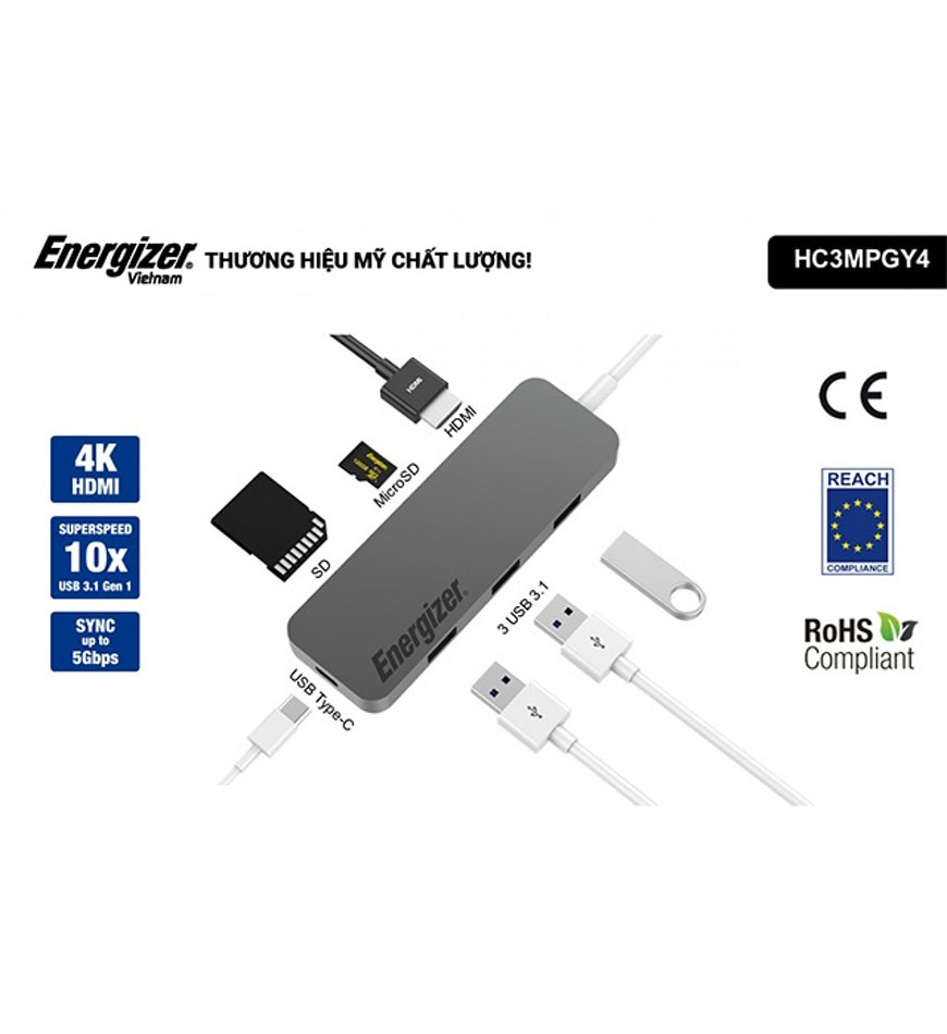 ENERGIZER USB C-HUB MULTI-PORT CABLE 7 IN 1 - HC3MPGY4