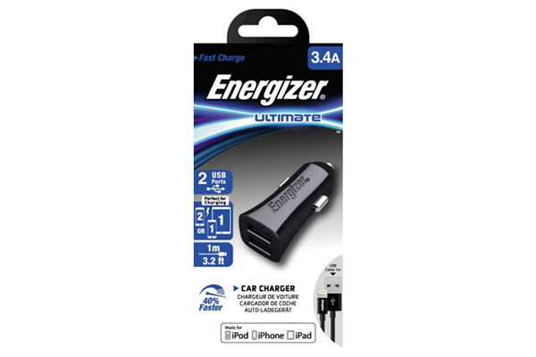 ENERGIZER ULTRA CAC LIGHTNING IPHONE CABLE 3.4A - 2 USB - BLACK - DCK2CULI3