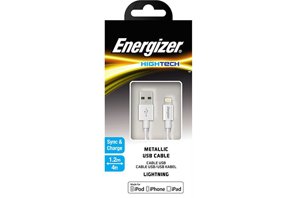 ENERGIZER HIGH-TECH USB LIGHTNING IPHONE CABLE ALU - SILVER 1.2M - C13UBLIGSL4