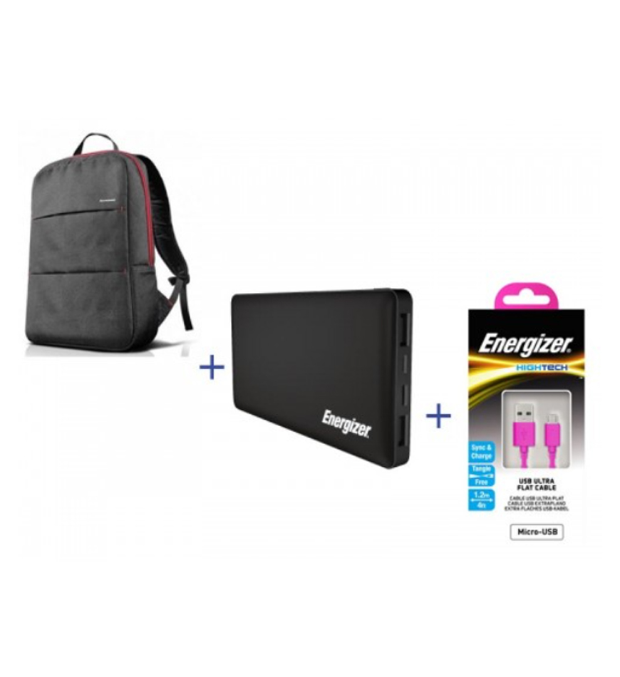 LENOVO SIMPLE LAPTOP BAG 15.6 + ENERGIZER POWER BANK 10000 MAH + ENERGIZER HT FLAT USB MICRO-USB CABLE