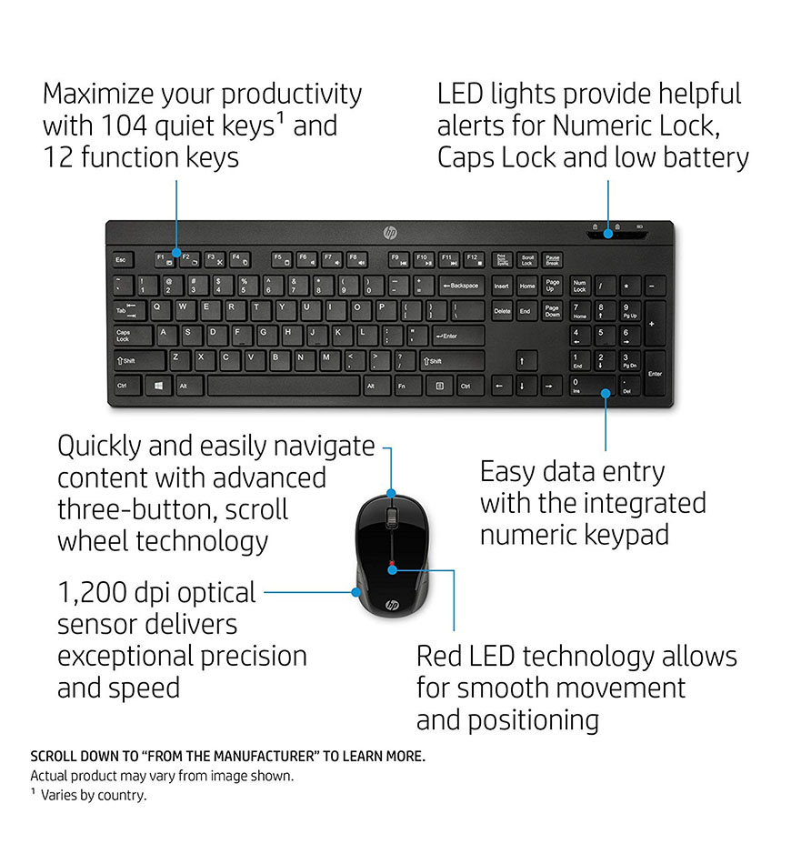 HP WIRELESS KEYBOARD MOUSE 200 - Z3Q63AA - BLACK